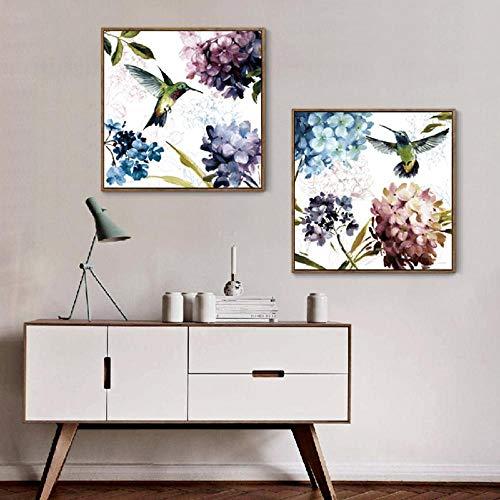 wydlb Kleine Frische Lila Hydrangea Kolibri Blumen Malerei Leinwand, Bilder Moderne Dekoration Schlafzimmer Wandkunst 60x60cmx2 kein Rahmen - Lila Hydrangea-bilder