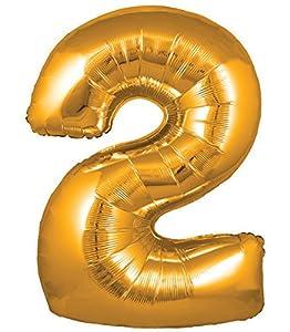 Oaktree UK 603127 Globo con número gigante 2, dorado, 30 pulgadas