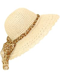 Ladies Straw Sun Hat Packable Large Brim BNWT Leopard Print Scarf Band (57CM, NATURAL)