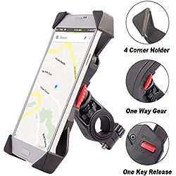 Anti vibración Soporte de Bicicleta Soporte Para Teléfono Celular Universal Prevención de Caídas Manillar de la Bicicleta Soporte Para Teléfono Móvil Abrazadera de la Horquilla Con Rotación 360 Para 3,5 a 6,3 pulgadas GPS para Teléfonos Inteligentes Otros Dispositivos (Universal)