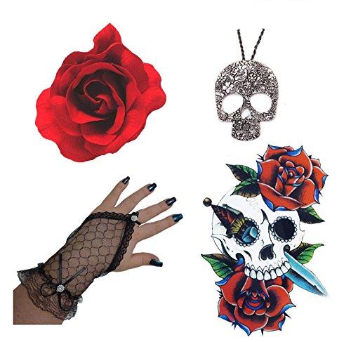 Tag Der Toten Rotes Blume, Schädel Halskette, Handschuhe+Großes Tätowierung