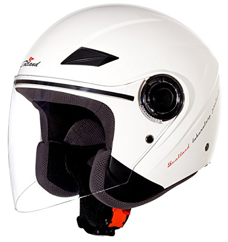 Scotland Casco Moto/Scooter con Visera Larga Force 03, Blanco Brillant