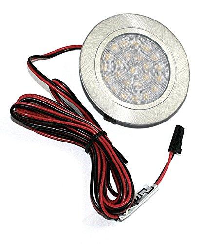 LED Möbeleinbauleuchte | Ø65mm-Einbautiefe 20mm | Aluminium Gebürstet | AMP Ministecker | 2m Kabel
