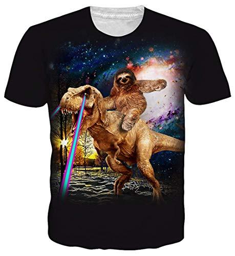 RAISEVERN Men T-Shirt, T-Shirt mit Dinosaurier-Print und Rundhalsausschnitt Hip Hop-Outfit Coole Kurzarm-Kleidung Galaxy