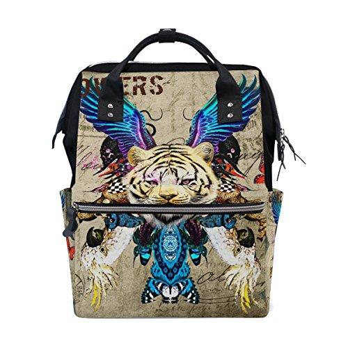 Löwen Camo (Mumien-Tasche, Wickeltasche, mit großem Fassungsvermögen, Vintage-Design mit Löwen)