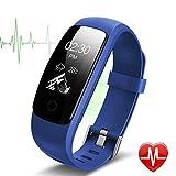 Bracelet Sport Activité Montre Connectée Avec GPS, NickSea Etanche IP67 Fitness Tracker d'Activité Bluetooth avec Cardiofréquencemètres, Podomètre, Distance, Calorie, Notification Appel & SMS - Blue