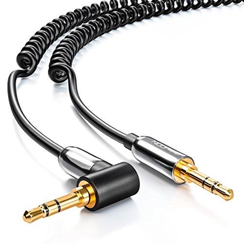 deleyCON 1m Klinken Kabel Spiralkabel - Stereo Audio - AUX - 3,5mm Klinken Stecker zu 3,5mm Klinken Stecker 90° abgewinkelt - vergoldete Stecker