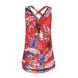 SEWORLD 2018 Damen Mode Frauen Sommer Herbst Frauen Lose Blumen Chiffon Ärmelloses Behälter V-Ausschnitt Reißverschluss Rand Schaufel T-Shirt Oberseiten (X-a-Rot,EU-48/CN-4XL)