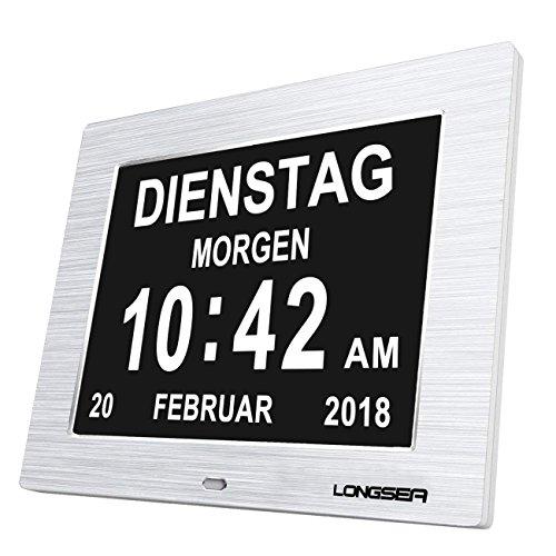 Longsea Orologio da Tavolo con Calendario Digitale Sveglia del Calendario con 8 Sveglie e 8' Schermo Grande Auto Oscuramento 8 Lingue per Alzheimer Anziani e Bambini (Argento)