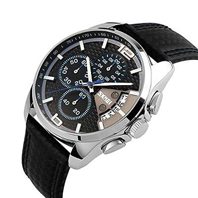 Relojes Pulsera Cronógrafo Calendario 30M Impermeable Analógico Relojes Hombre Negro Cuero Deportivo