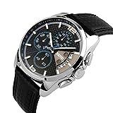 Mode Sport Herrenuhren - Luxus Leder Armband Sub-Dials Chronograph Stoppuhr Kalender Datum 30M Wasserdicht Quarzuhr Armbanduhren für Männer, Blau