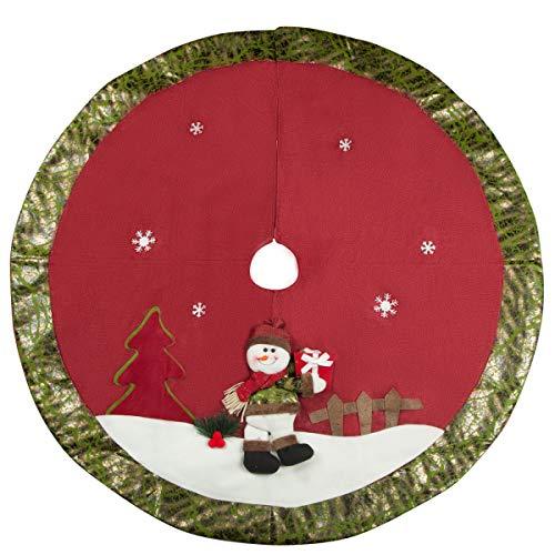 QILICZ Weihnachtsbaum Rock, Weihnachtsbaumdecke 3D schneemann Jute Baum Rock Christbaumständer Geschenkdecke Dekoration Weinachten Tannenbaum Dekorationen Baumdecke Ø 107cm rot