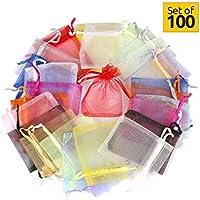 Hesky Bolsas de Organza de Regalo (100 piezas, 10 colores) - Perfecto para Regalos, Favores de la Boda y Joyas (15 x 20 cm)