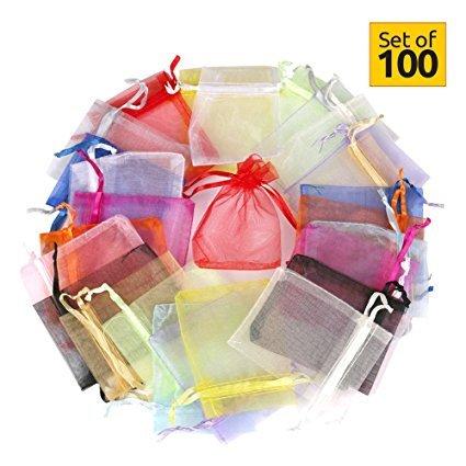 Sacchetti di organza (100 pezzi 10 colori)- portaconfetti sacchetti regalo buste di matrimonio festa favore gioielli -(13 x 18 cm)