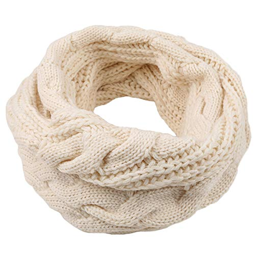Männer Frauen Dicke Rippenstrick Winter Unendlichkeit Kreis Loop Schal, Soft & Warm Halstuch (Cremeweiß)