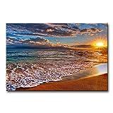 Stampa su tela da parete, con motivo con bagnasciuga e onde all'alba, paesaggio marino a olio per decorare la casa in modo moderno