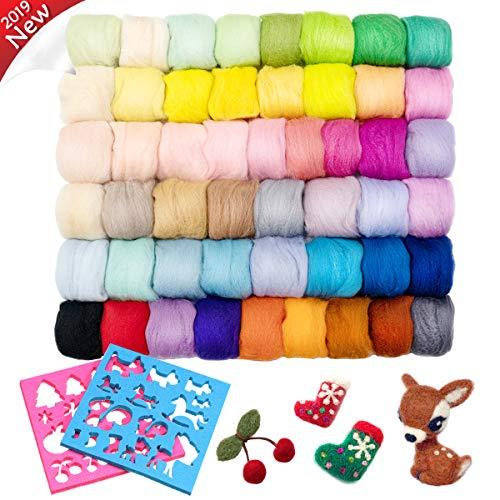 Jeteven 50 Farben Filzwolle mit 2 Modell Schafwolle geeignet für DIY Handwerk Puppe Nadelfilz (50 Farben+2 Modell)