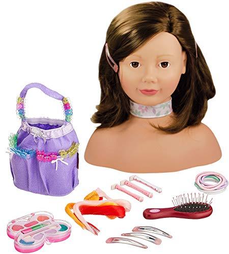 Götz 1192053 Haarwerk mit braunen Haaren und braunen Augen - 28 cm hoher Frisierkopf- und Schminkkopf in 58-teiligen Set - geeignet für Mädchen ab 3 Jahren