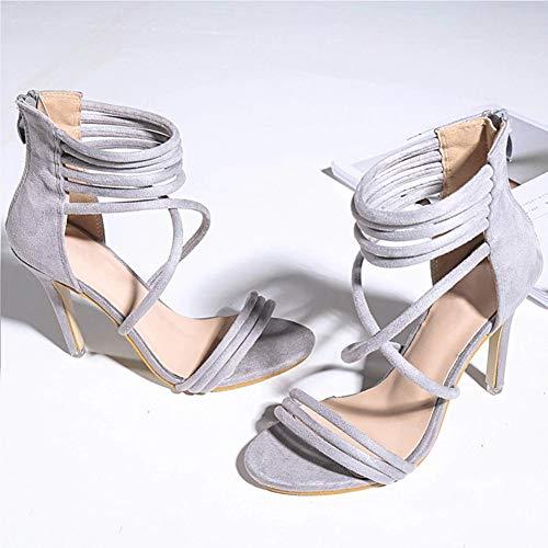 MLYC Damen-Sandalen mit offenem Zehenbereich, Kreuzriemen, für Büro, Kleid, Schuhe, Rücken, Reißverschluss - Für Qupid Frauen-plattform Sandalen