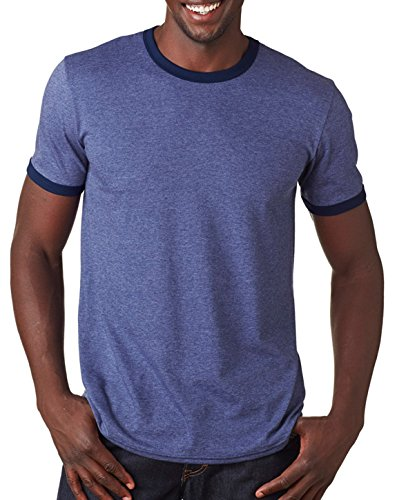 Amboss Herren Leicht Ringer T-Shirts, Herren, Heather Blue / Navy