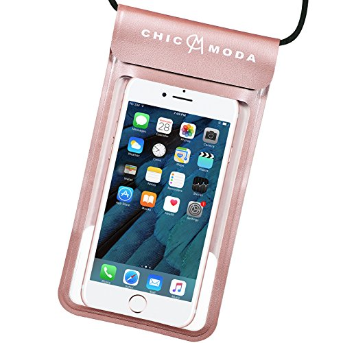 CHICMODA Cuero Funda Impermeable Móvil Universal 7 Pulgadas, Bolsa Movil Playa a Pruebva de Agua y Polvo de Suciedad, Funda Movil Agua IPX8 para iPhone 7 Plus 6 6 Plus 5S SE, Samsung Huawei p9 p8, Bq, LG, Xiaomi y Android - Oro rosa