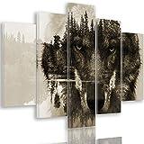 Feeby. Leinwandbild - 5 Teile - Bilder, Wand Bild, Wandbilder, Kunstdruck XXL, 5-Teilig, Typ A, 100x70 cm, Tiere, Wolf, Natur, Wald, BÄUME, Augen, GRAU