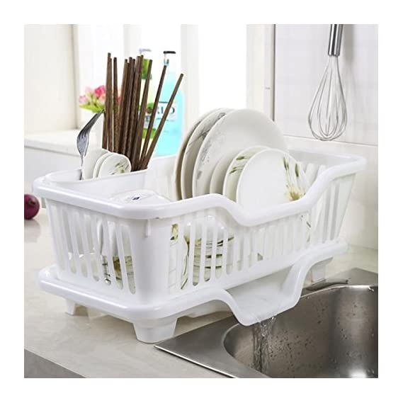 Panzl Plastic Steel Large Sink Set Drainer Multi-function Dish Racks Washing Holder Basket Organizer with Tray for Kitchen, (Multicolour)