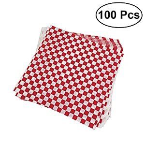 BESTONZON 100 Sheets Checkered Deli Basket Liner Kariertes Lebensmittel Wrapping Papers Fettbeständig Sandwich Hamburger Wrap verhindert Lebensmittelflecken