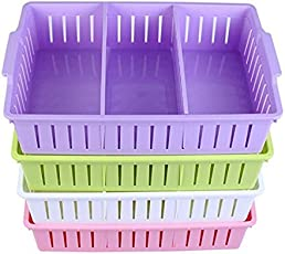 SHAFIRE Multi Segment Hollow Bin Basket Storage Box Tray Organizer Container Kitchen Bathroom Office Assorted Colors Set of 4 (Random Colour)