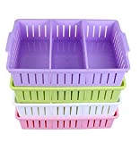 #7: SHAFIRE Multi Segment Hollow Bin Basket Storage Box Tray Organizer Container Kitchen Bathroom Office Assorted Colors Set of 4 (Random Colour)