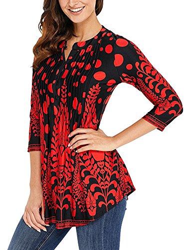 Minetom Femmes Chemiser Elégante Col V Manches 3/4 Bohême Imprimé T-Shirt Basique Hauts Blouse Slim Fit Shirts Tunique Tops Rouge