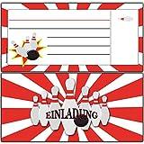 Einladungskarten zum Geburtstag Bowling DIN Lang Blanko - (10 Stück) Einladung Einladungen Bowlingparty