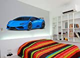 Blue Hypercar Sports Car Printed Wall art sticker boys bedroom Decal room.S1 550mm Length (Blue)