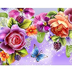 5D Diamond DIY Painting Craft, friendGG Rhinestone Pasted Diamond Embroidery Cross-Stitching Set Full Square Drill Shiny Flower Full Rhinestone Embroidery for Home Room Wall Decoration (Multicolor)