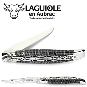 Laguiole en Aubrac couteau L0712DWIF double platines, 12 cm, manche en molairemammuth, mitres et lame inox brillant