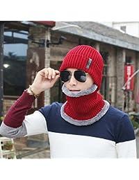 Herbests Inverno Cappello da Uomo Invernali a Maglia Maglia Caldo Sciarpa di  Spessore Inverno Cappello Sciarpa 8c40c91646d6