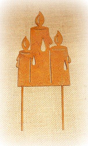 Dekostecker 'Kerzen' aus Metall mit Rostfinish 18 cm