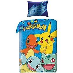 Ropa de cama infantil Pokémon, funda de almohada de 70 cm x 90cm con funda nórdica de 140cm x 200cm, 100 % algodón
