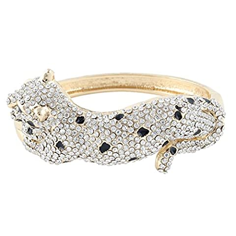 Ever Faith Austrian Crystal Leopard Bracelet Bangle Gold-Tone Clear A09903-2
