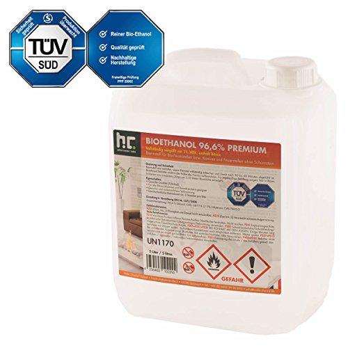1 x 5 L Bio Ethanol Premium 96,6% für Kamin - VERSANDKOSTENFREI - im sicheren 5 L Kanister - TÜV SÜD zertifiziert