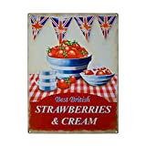 Strawberries and cream, food. Best British. Union Jacks. Painted sign for house, home, kitchen, pub, cafe or bar Small Metal/Steel Wall Sign