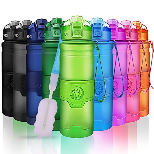 ZORRI Sport Wasserflasche  Trinkflasche Bpa Frei Tritan Schule Sportflasche Trinkflaschen für kinder,fitness,Fahrrad,öffnet sich mit 1-Click - Wiederverwendbare mit dicht schließendem Deckel (500ml-17oz, Grün)