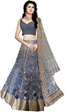 Isha Enterprise Women's Nylon/Silk Lehanga Choli (Navy Blue_ 40)