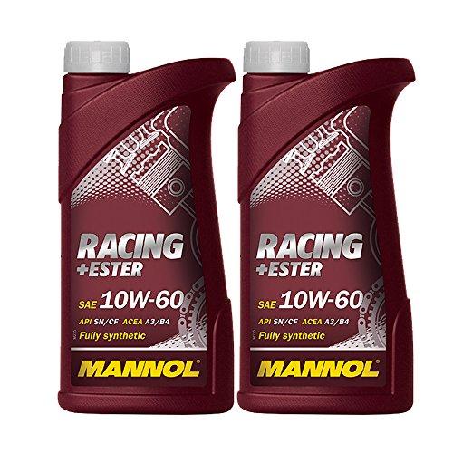 MANNOL 2 x 1000ml Racing+Ester 10W-60, PKW Motorradöl Synthetik