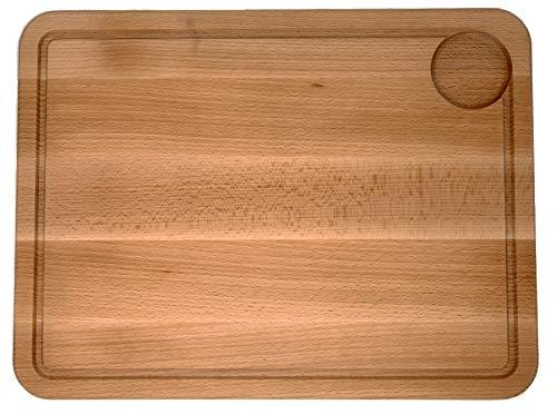 Schneidebrett, Tranchierbrett aus massivem Buchenholz inkl. Saftrille I Küchenbrett Holz Massiv I Holzbrett Brotschneidebrett | geölt 40x30x2cm