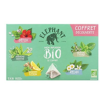 Elephant Coffret Infusions Bio 40 Sachets 58 g - Lot de 2