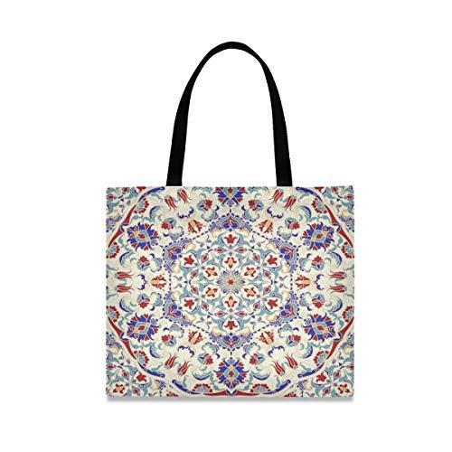 Vinlin Canvas Einkaufstasche Mandala Islam Arabisch Indisch Groß Einkaufstüten Einkaufen Umweltfreundlich Schulter Handtaschen für Frauen Mädchen
