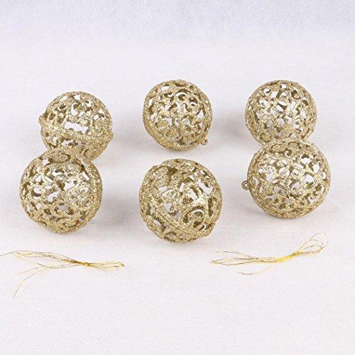 Weihnachtskugeln 6 cm Weihnachtsbaum Dekor Bälle 60mm Spielerei Hängen Home Party Ornament Dekor (Gold)