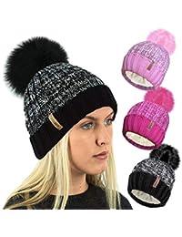 6c4937f0dbc TOSKATOK Ladies Womens Ribbed Knit Marl Fleece Lined Winter Beanie Hat with Faux  Fur Pom Pom