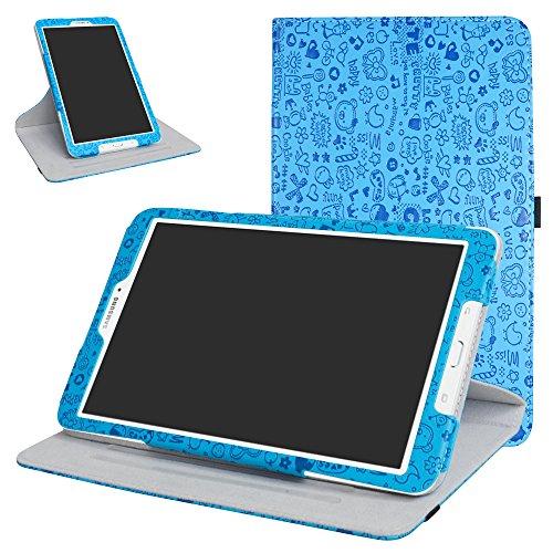 Mama Mouth 360Grad Rotary mit Ständer Cute Lovely Muster Schutzhülle für Samsung Galaxy Tab E 9,6/E Nook 24,4cm T560T561T567Verizon 4G LTE Blau Blau